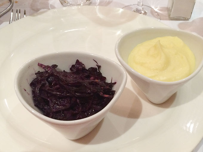 Café du Centre - braised red cabbage and mashed potatoes