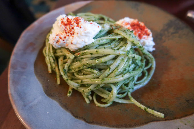 Bombar restaurant - Pesto and ricotta linguine